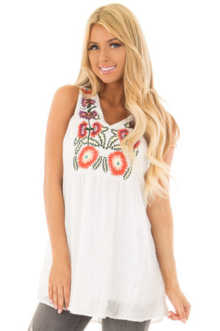 White Lightweight Tank Top with Floral Embroidery front close up