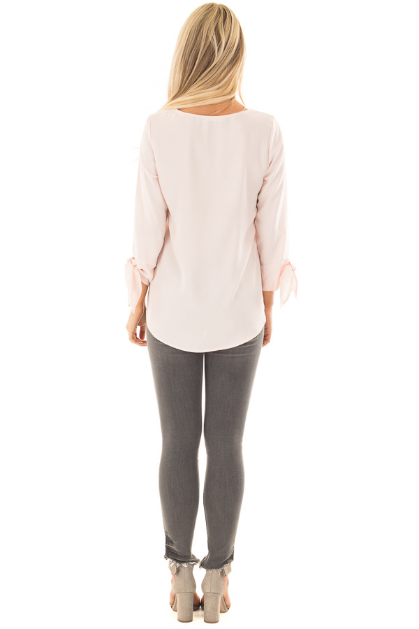 Blush Tied Sleeve Blouse with Rounded Neckline back full body