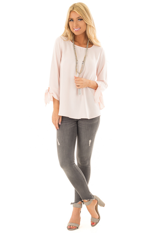 Blush Tied Sleeve Blouse with Rounded Neckline front full body