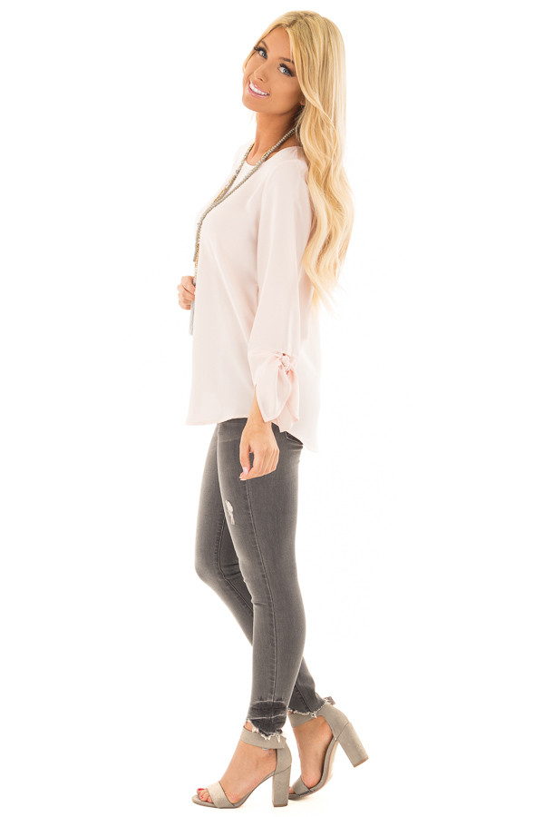 Blush Tied Sleeve Blouse with Rounded Neckline side full body
