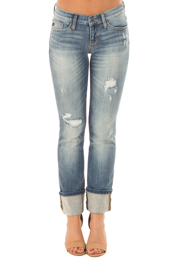Medium Wash Distressed Straight Leg Jeans with Cuffed Ankle front view