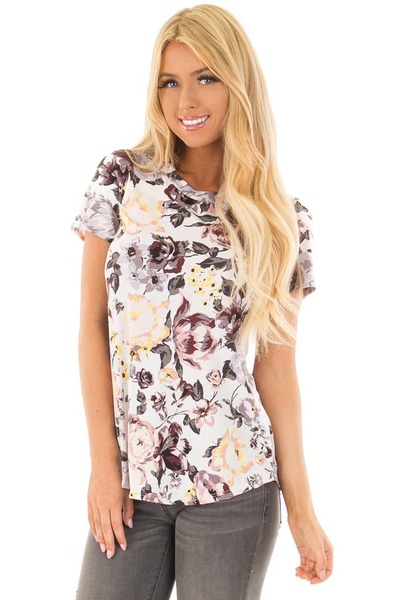 Off White Floral Print Short Sleeve Top front close up