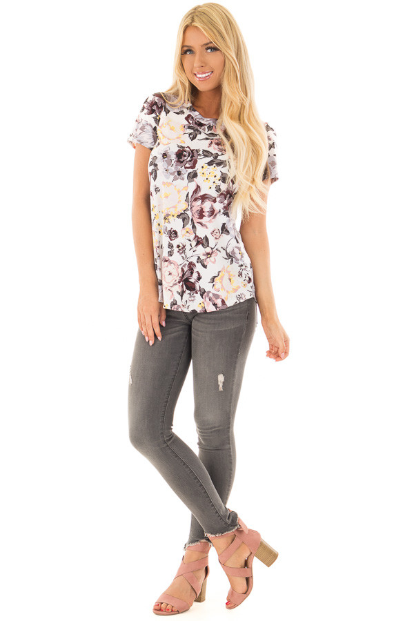Off White Floral Print Short Sleeve Top front full body