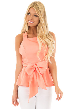 Peach Peplum Tank Top with Criss Cross Back front close up