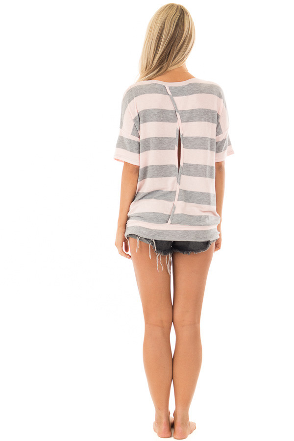 Heather Grey and Blush Striped Top with Cutout Overlay Back back full body