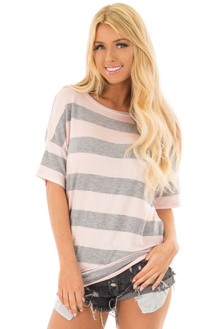 Heather Grey and Blush Striped Top with Cutout Overlay Back front close up