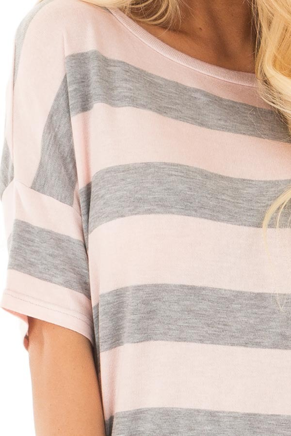 Heather Grey and Blush Striped Top with Cutout Overlay Back detail