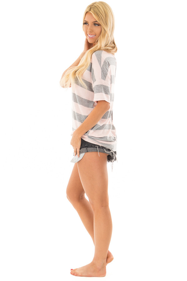 Heather Grey and Blush Striped Top with Cutout Overlay Back front full body