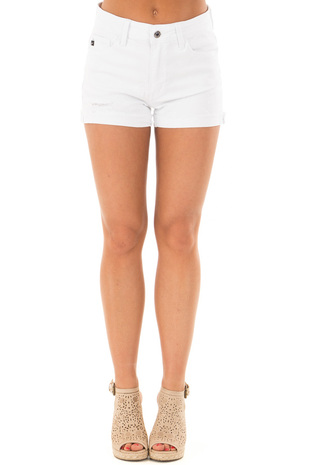 White Distressed Denim Shorts with Cuffed Hem front view