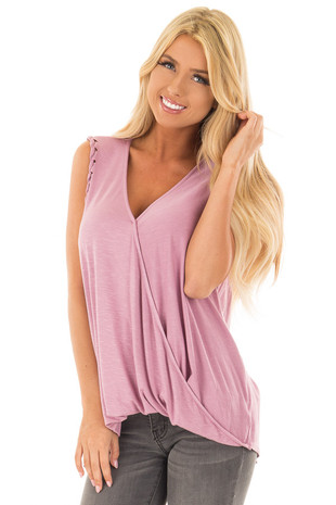 Lavender Surplice Tank Top with Front Twist front close up
