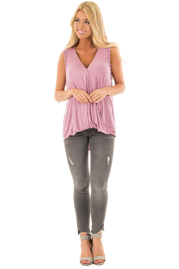 Lavender Surplice Tank Top with Front Twist front full body
