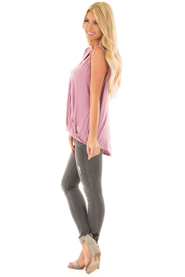 Lavender Surplice Tank Top with Front Twist side full body