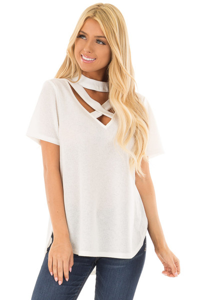 Off White High Neck Top with Chest Cutout Detail front close up