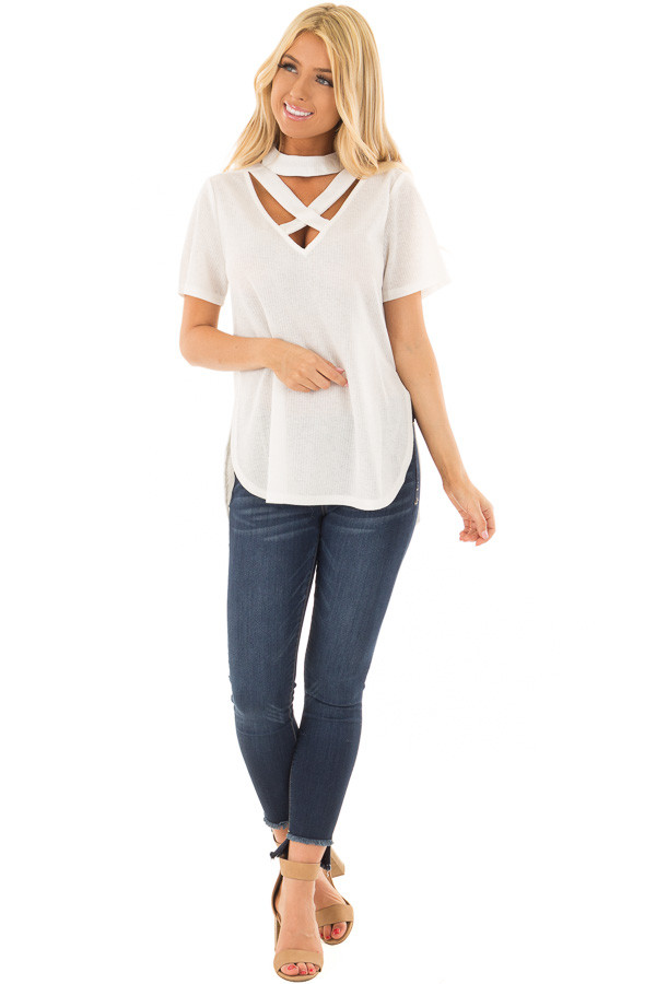 Off White High Neck Top with Chest Cutout Detail front full body