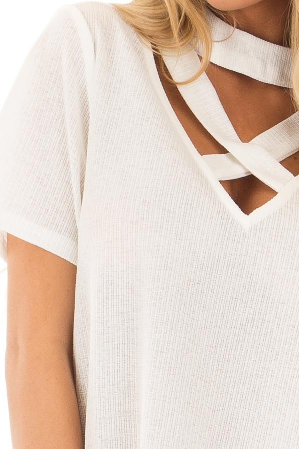 Off White High Neck Top with Chest Cutout Detail detail