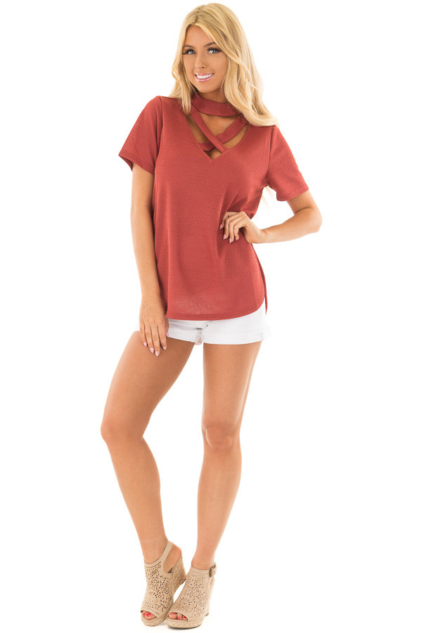 Brick High Neck Top with Chest Cutout Detail front full body