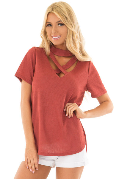 Brick High Neck Top with Chest Cutout Detail front close up