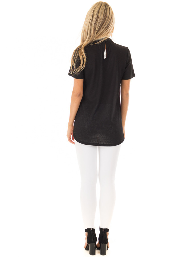 Black High Neck Top with Chest Cutout Detail back full body