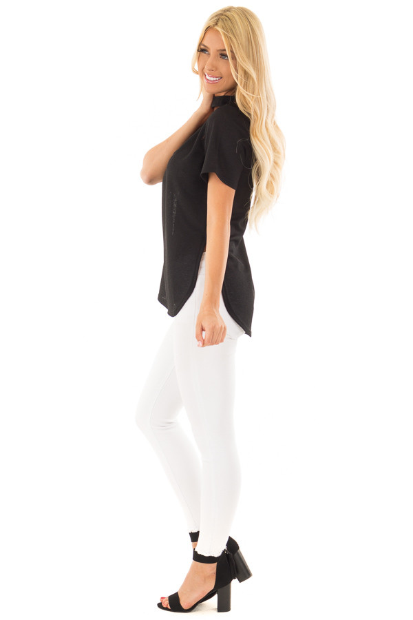 Black High Neck Top with Chest Cutout Detail side full body