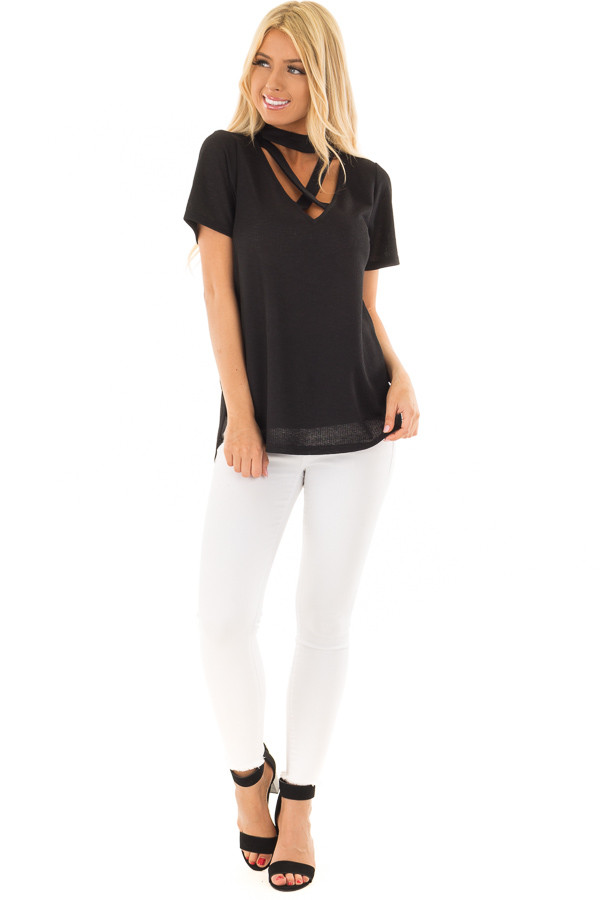 Black High Neck Top with Chest Cutout Detail front full body