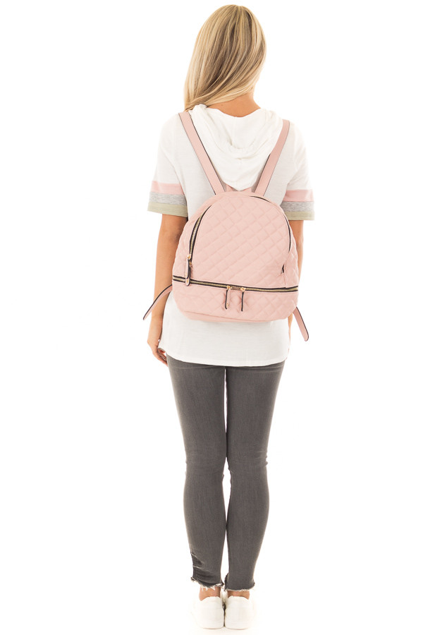 Blush Quilted Small Backpack back full body