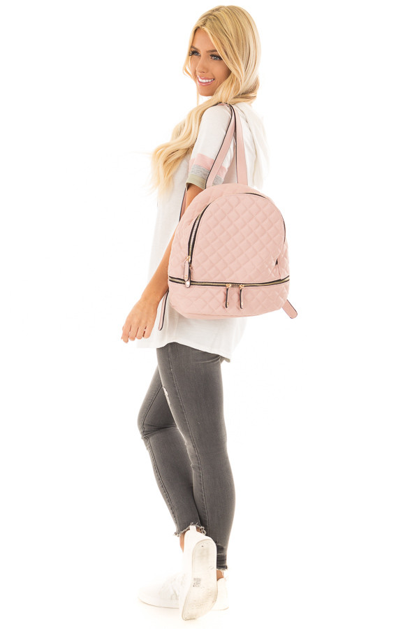 Blush Quilted Small Backpack side full body
