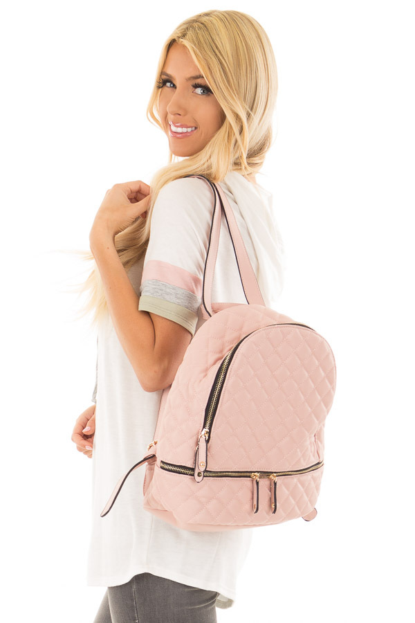 Blush Quilted Small Backpack side close up