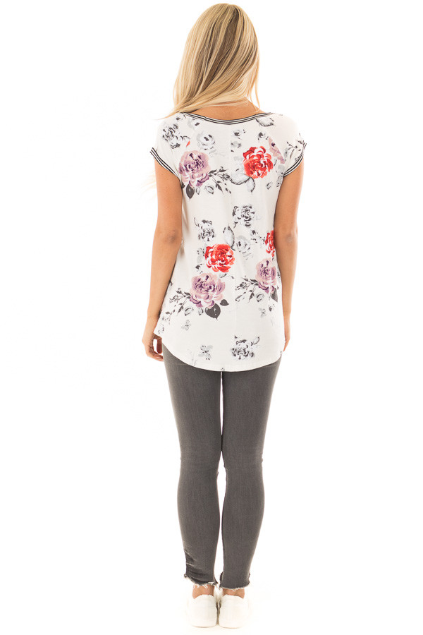 Ivory Floral Print Top with Stripe Detail back full body