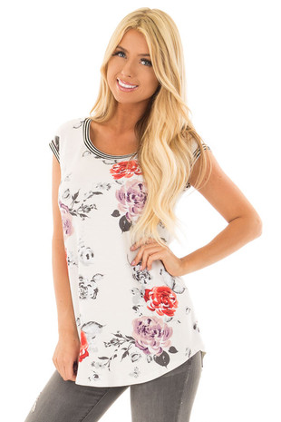Ivory Floral Print Top with Stripe Detail front close up