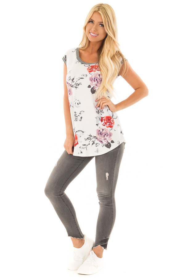 Ivory Floral Print Top with Stripe Detail front full body