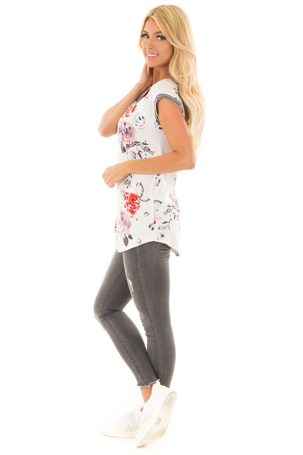 Ivory Floral Print Top with Stripe Detail side full body