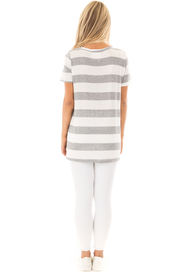 Off White and Heather Grey Striped V Neck Short Sleeve Top back full body