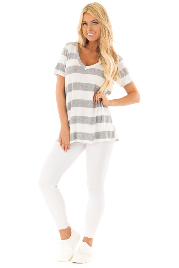 Off White and Heather Grey Striped V Neck Short Sleeve Top front full body