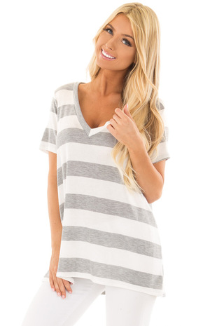 Off White and Heather Grey Striped V Neck Short Sleeve Top front close up