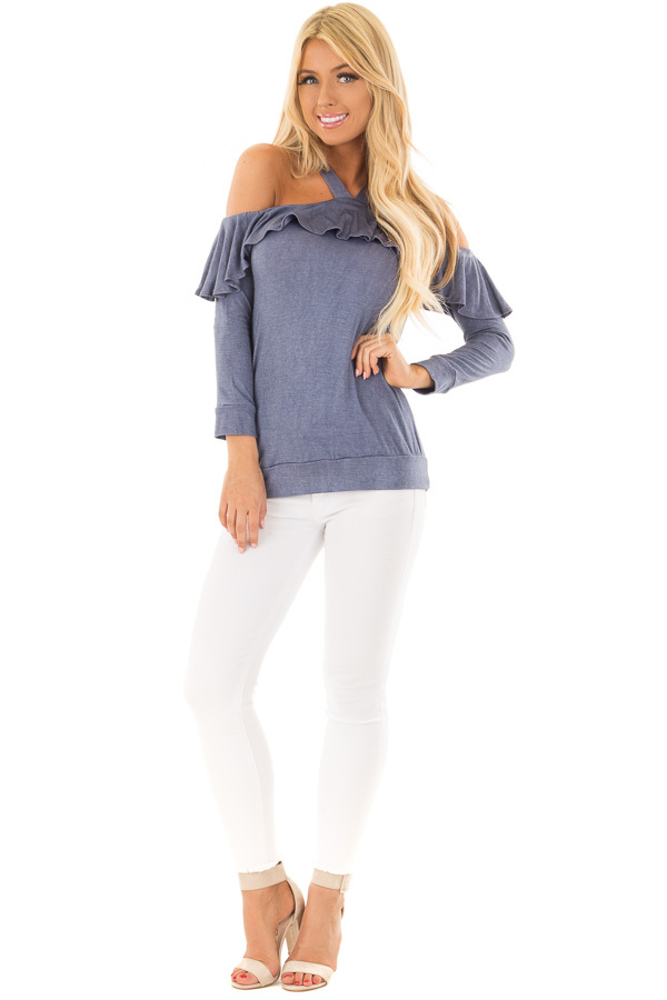 Denim Blue Cold Shoulder Halter Top with Ruffle Detail front full body