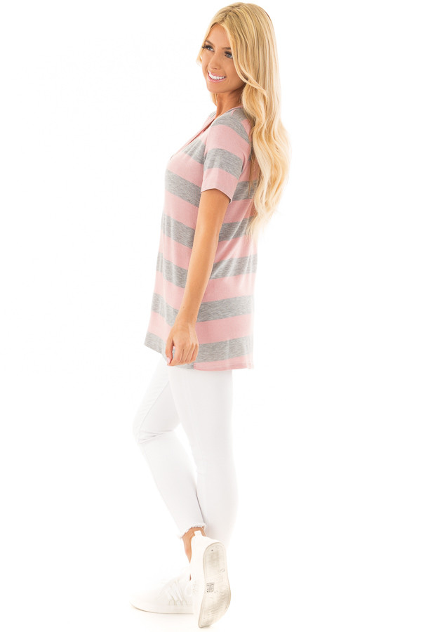 Dusty Rose and Heather Grey Striped V Neck Short Sleeve Top side full body