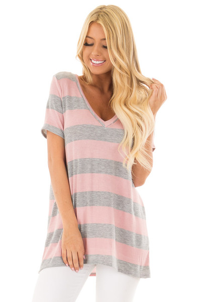 Dusty Rose and Heather Grey Striped V Neck Short Sleeve Top front close up