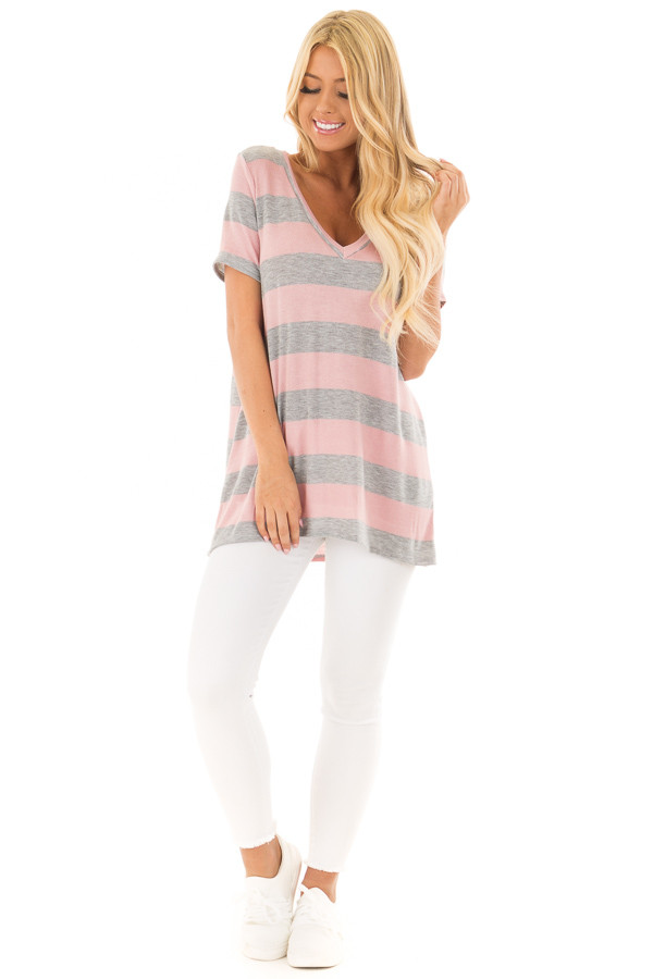 Dusty Rose and Heather Grey Striped V Neck Short Sleeve Top front full body
