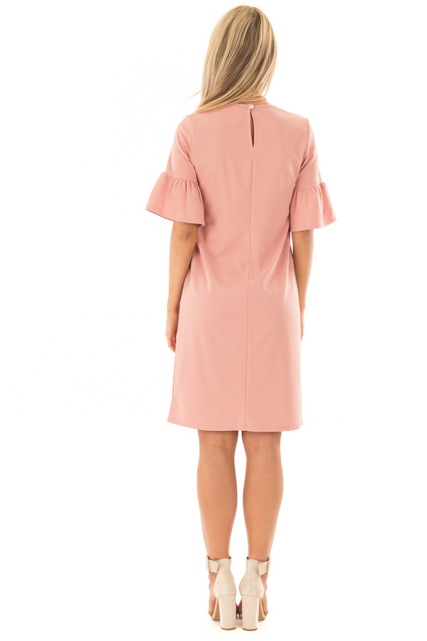Dusty Blush Dress with Short Bell Sleeves back full body