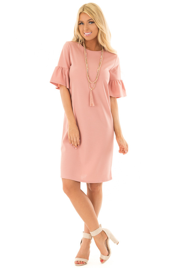 Dusty Blush Dress with Short Bell Sleeves front full body
