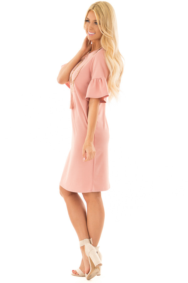 Dusty Blush Dress with Short Bell Sleeves side full body
