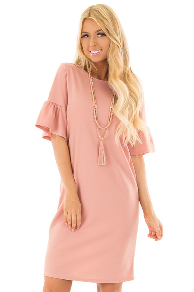 Dusty Blush Dress with Short Bell Sleeves front close up
