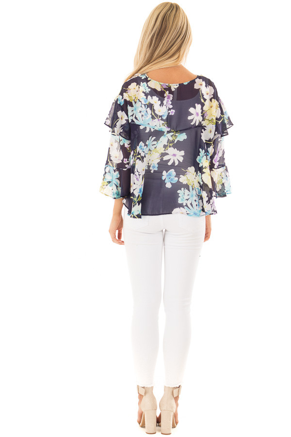 Navy Floral Print Blouse with Ruffle Sleeves back full body