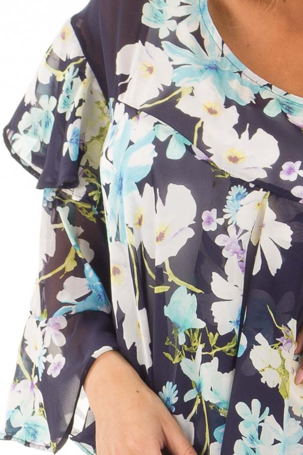 Navy Floral Print Blouse with Ruffle Sleeves detail