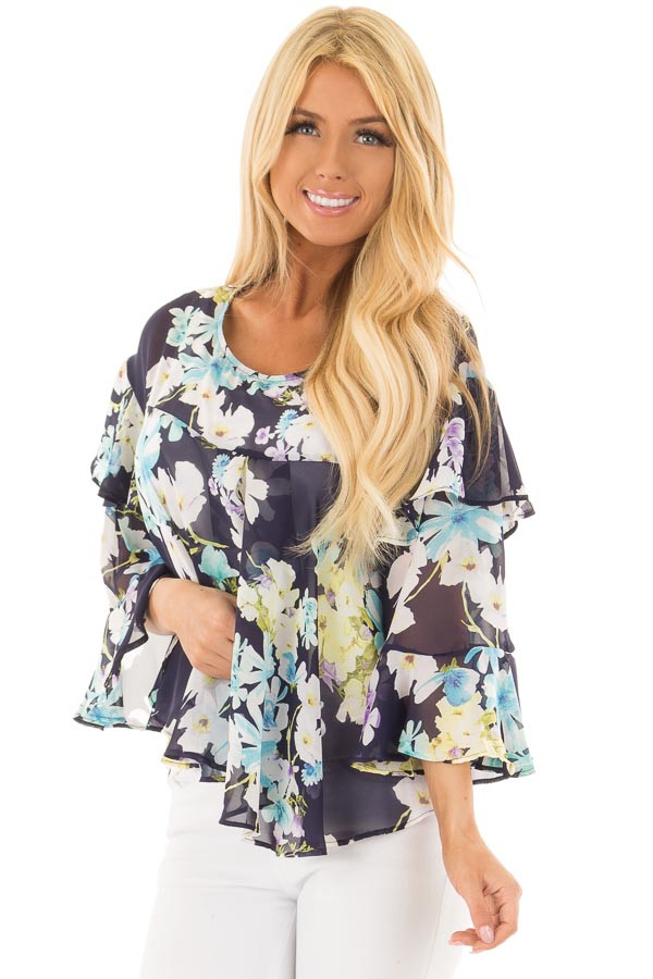 Navy Floral Print Blouse with Ruffle Sleeves front close up