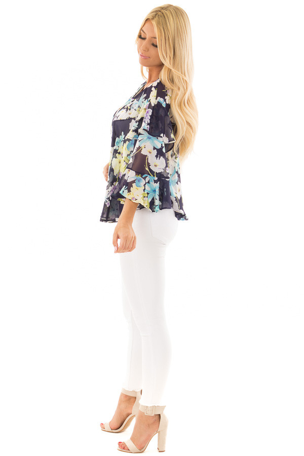 Navy Floral Print Blouse with Ruffle Sleeves side full body