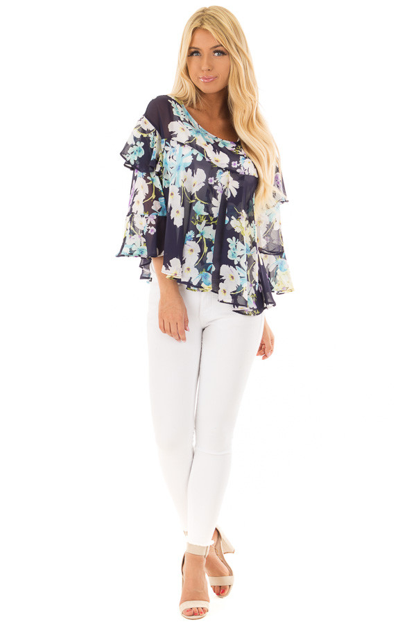 Navy Floral Print Blouse with Ruffle Sleeves front full body