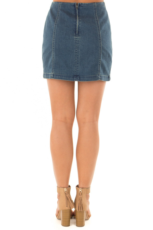 Dark Wash Denim High Waisted Mini Skirt back view