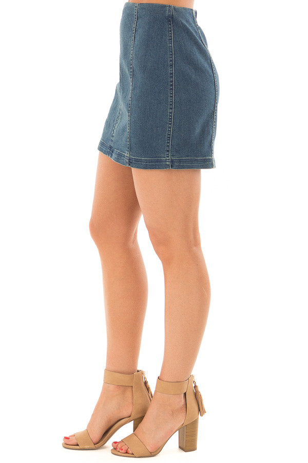 Dark Wash Denim High Waisted Mini Skirt side view