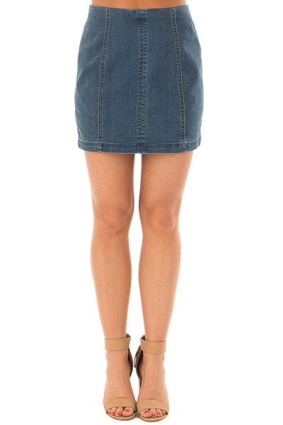 Dark Wash Denim High Waisted Mini Skirt front view
